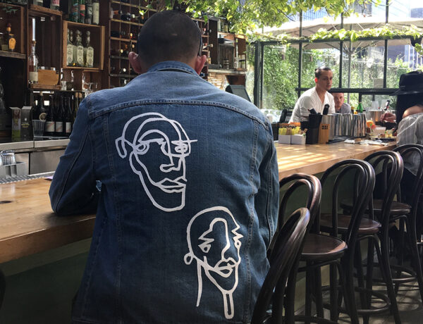 Iron-on patch on denim jacket