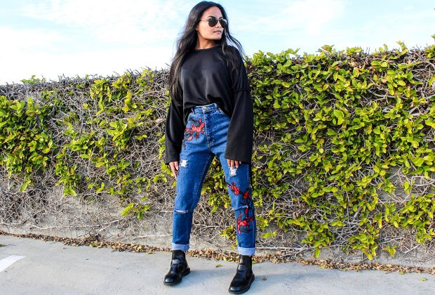 ysabel hilado no-sew embroidered patch jeans